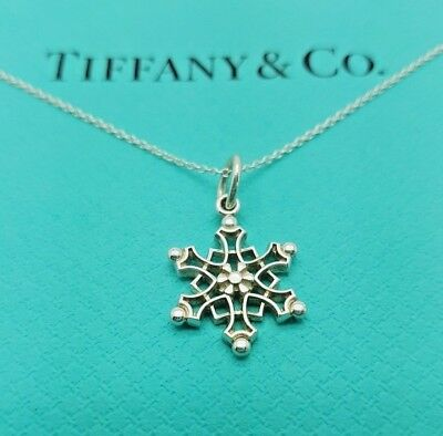 316ae941e TIFFANY & CO Silver Snowflake Snow Flake Charm Pendant Necklace 18 ...