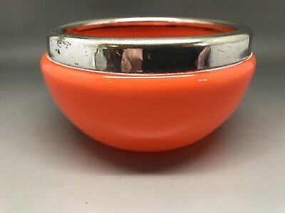 Vintage Orange Glass Bowl With Silver Coloured (plated?) Rim