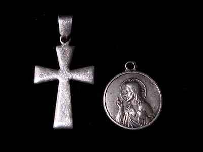 OUTSTANDING LOT of  TWO VINTAGE SMALL SILVER CROSS AND RELIGIOUS PENDANT!!!