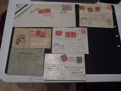 Lot of 6 US Covers and Postcards each with Postage Due Stamps Affixed