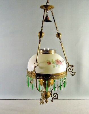 Antique Oil Chandelier P &  A Hanging  Green Pendant  Crystals