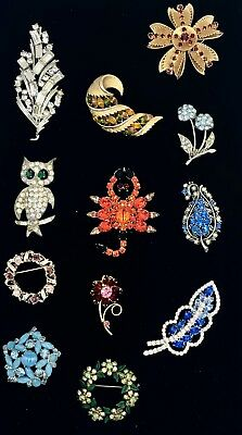 Lot of 12 Vintage Costume Jewelry  Higher End Rhinestone Brooches - Estate Lot