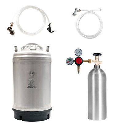 Keg Kit: 3 Gal Ball Lock Beer Keg, 5 lb CO2 Tank, Regulator & Parts - SHIPS FREE