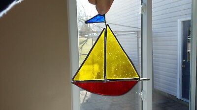 Vintage Stained Glass Suncatcher Sail Boat
