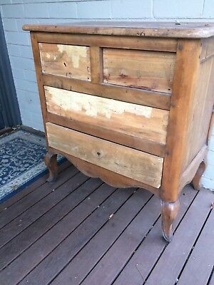French Provincial Bedside Chest Of Drawers 85x48x78 cm In Need Of Restoration..