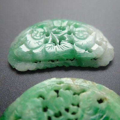 TWO Antique Chinese Jadeite Jade Plaques Emerald A Grade Jadeite He He Twins