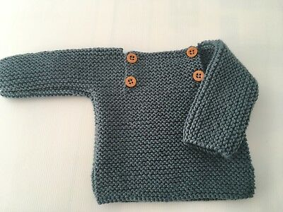 Jumper Handmade Chunky. Merino Wool  Size 6 Months - Lake Color- New