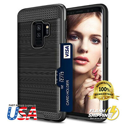 Fits Galaxy S9 Plus Card Holder Rugged Hybrid Shockproof Armor Defender Case
