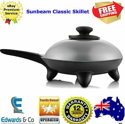 Electric Frypan Skillet Non Stick  25cm Adjustable Heat Cooking Fry Pan Sunbeam