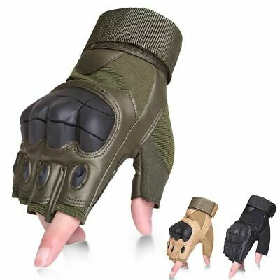 Tactical Leather Rubber Hard Knuckle Half Finger Gloves Men Army Military Combat