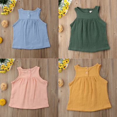 Toddler Kids Baby Cotton Sleeveless Girl Outfit Shirt Tops Dress Clothes Set