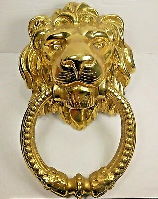 Vintage Lion Head Brass Door Knocker Heavy Solid Ring Large Gold