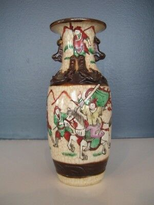 Chinese Crackle Pottery Warrior Vase Famille Verte Qing or Republic Period