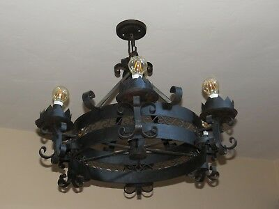 Antique Vintage Wrought Iron Gothic Spanish Mexican Mexico 6 Light Chandelier #A