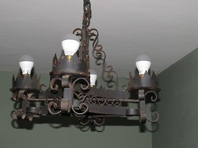 Antique Vintage Wrought Iron Gothic Spanish Mexican Mexico 4 Light Chandelier #B
