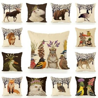 Cotton Linen Animal Cushion Cover Waist Throw Pillow Case Home Sofa Decor New UK