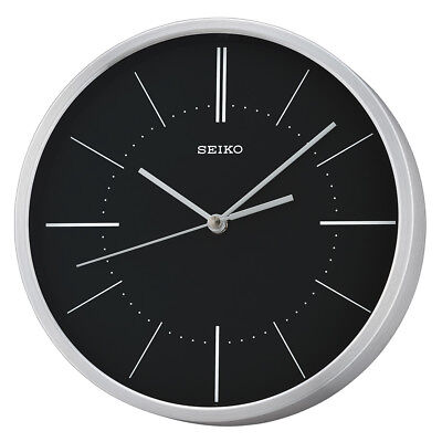 Seiko Aluminium Wall Clock Round Silver with Black Dial Analogue Modern Style