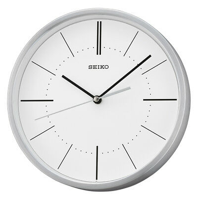 Seiko Aluminium Wall Clock Round Silver with White Dial Contemporary