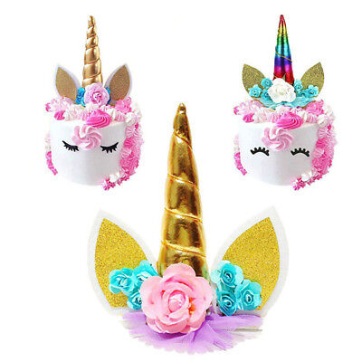 Unicorn Birthday Cake Decor Topper Cute Horn Ears Flower Party Ornament Prop