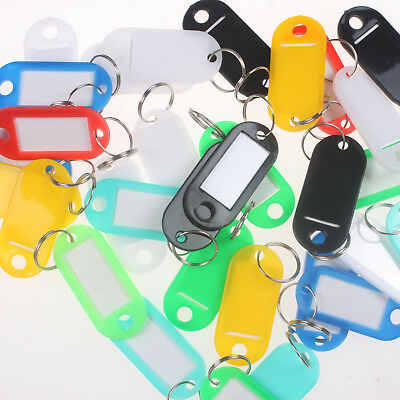 Lot of 100PCS Plastic Key Assorted Tags Rings ID Luggage Label Name Car Key ring