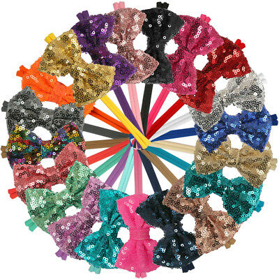 20pcs 3inch Sequin Bows With Nylon Headbands Baby Girls Hair Bows Elastic Bands