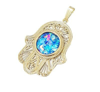 Amazing 14k Gold Yemenite Hamsa Pendant with Roman Glass Evil Eye Design