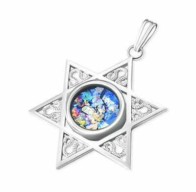 14K White Gold Star of David Roman Glass Pendant Necklace