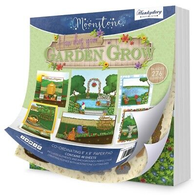 """HUNKYDORY Moonstone HOW DOES YOUR GARDEN GROW Co-ordinating 8"""" x 8"""" Paper Pad"""
