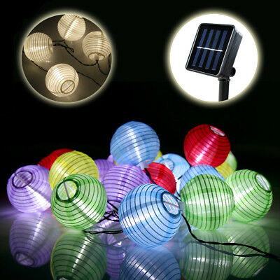 20 30 50 60 LED Solar Lampion Lichterkette Weihnachtsbaumkette Garten Party