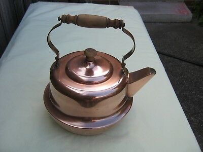 Vintage RODD Copper and Brass KETTLE. Turned wooden Knob & Handle.