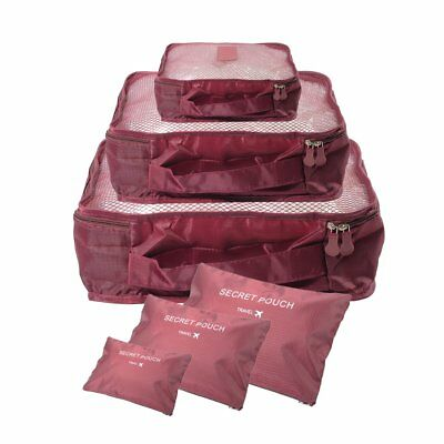 Waterproof Travel Storage Bags Clothes Packing Cube Luggage Set (6Pcs) Red