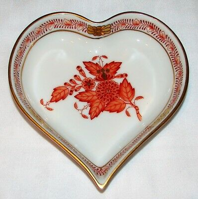 "Herend Hungary Chinese Bouquet Rust 4"" Heart Shaped Dish 7703 Handpainted Gold"
