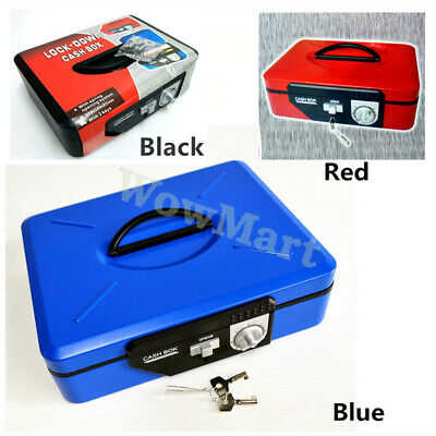 Portable Durable Steel Spring System Password Lockable Cash Register Box 30cm
