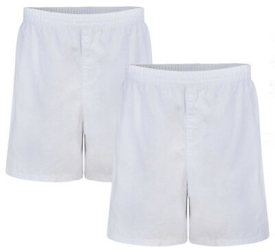 "Boys Pe Shorts ""2 Pack"" Cotton White Ex Uk Store Rugby School Gym 3-16Y New"