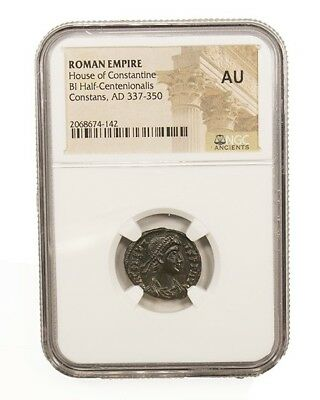 Roman AE of Constans (AD 221-350) NGC(AU), ancient Imperial Rome certified coin