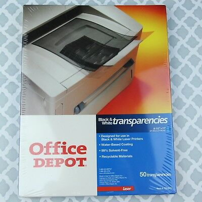 """Office Depot Black and White Transparency 50pk for Laser Printer 8 1/2"""" x 11"""""""