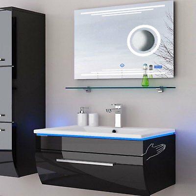 120 cm badm bel set schwarz weiss hochglanz led badezimmerm bel komplett bad eur 389 99. Black Bedroom Furniture Sets. Home Design Ideas