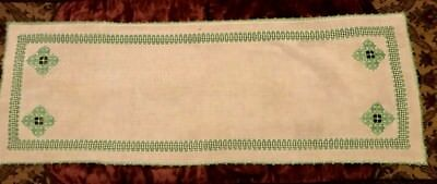 """Old Vintage Hand Made Hardanger Embroidery  in White/Green Runner 39"""" x 13 3/4"""""""