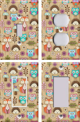 Woodland Animals / Fox Owl Hedgehog - Light Switch Covers Home Decor Outlet