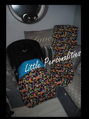 black turquoise pink lilac butterfly cotton baby stay put blanket or pram liner