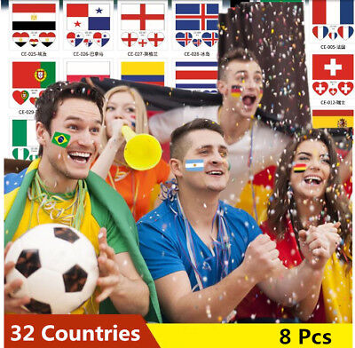 8x World Cup Nations Flag Face Paint Tattoo England Brazil France Spain Italy