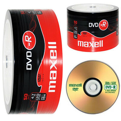 GENUINE MAXELL DVD-R 50 PACK BLANK DISCS RECORDABLE DVD 16x 4.7GB 120 MINS PC