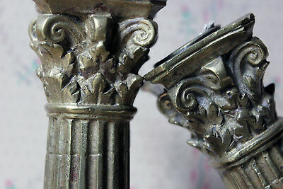 Antique Good Pair of Large 19thC Ormolu Candlesticks as Corinthian Capitals