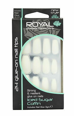 Royal 24 Glue-On Strong & Resilient Nail Tips-Iced Sugar Coffin