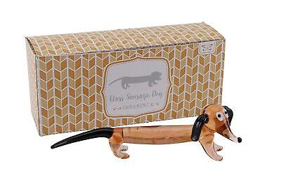 Glass Sausage Dog Figurine Cute Dog Sculpture Ornament Collectible Gift Present