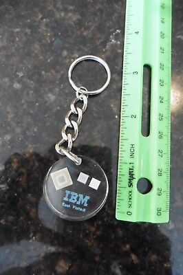 One IBM key chain Lucite East Fishkill NY Computer chips Medallion blue letters