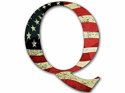 4x4 inch Q Shaped VINTAGE American Flag Sticker  - qanon anon conservative trump