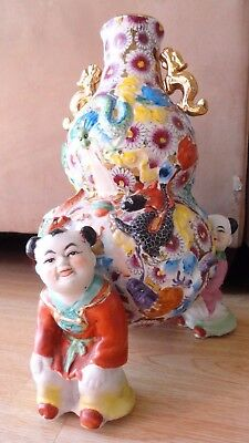 vintage chinese porcelain vase w/ 3 kids repousse hand painted w/ dragons 13 1/4