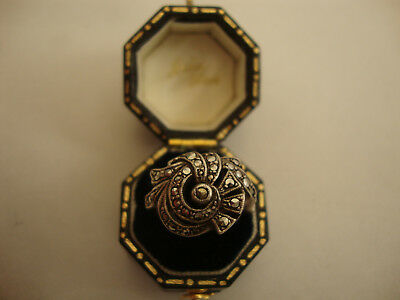 Nice old vintage 1930's antique art deco style silver ring marcasite stone set