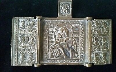 ANTIQUE 18th-19th CENTURY RUSSIAN BRONZE TRAVELER ICON TRIPTYCH